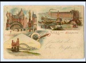XX003398/ Gruß aus Hamburg Elbbrücke Freihafen 1899 Litho AK