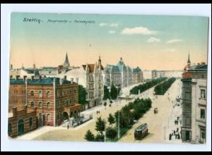 XX003314/ Stettin Hauptwache und Paradeplatz Straßenbahn 1916 AK