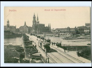XX003492-01./ Dresden Altstadt mit Augustusbrücke Straßnebahn AK