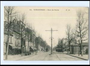 XX004018/ Frankreich Vincennes Rue de Paris Straßenbahn AK