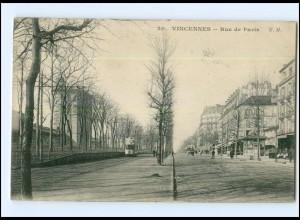XX004019/ Frankreich Vincennes Rue de Paris Straßenbahn 1908 AK