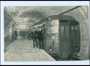 XX004633/ London Finsbury Park Station Railway Bahnhof U-Bahn AK 1904