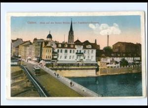 XX003791-031/ Guben Neisse-Brücke Straßenbahn AK ca.1910