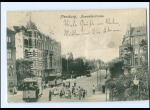 XX003832/ Flensburg Apenraderstraße Straßenbahn AK 1907