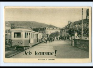 XX004672-6482/ Bad Orb i. Spessart Bahnhof Eisenbahn AK ca.1955-60