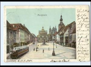 XX14727-062/ Eisleben Marktplatz Straßenbahn AK 1901