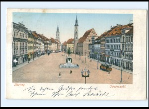 XX004644-028/ Görlitz Obermarkt Straßenbahn AK 1902