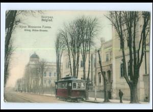 XX004601/ Belgrad König-Milan-Str. Straßenbahn AK 1906 Serbien