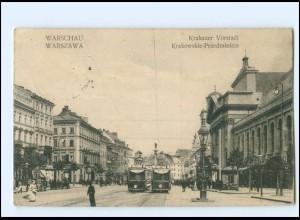 XX004282/ Polen Warszawa Krakauer Vorstadt Straßenbahn 1917 AK