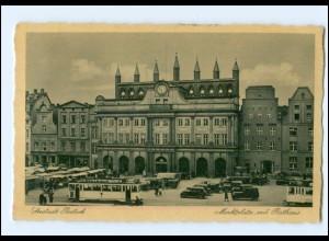 XX004191-18./ Rostock Marktplatz mit Rathaus Straßenbahn AK