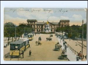 XX004669/ Riga Bahnhof Straßenbahn AK Lettland 1918