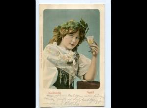 Y10941/ Moselblümchen junge Frau trinkt Wein AK 1901