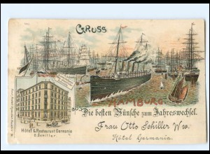 U4507/ Gruß aus Hamburg Hotel Germania , Hafen Dampfer Litho AK 1902
