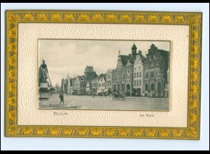 U4613/ Husum Am Markt Passepartout AK Rand geprägt ca.1900