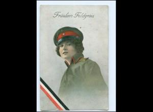 U4449/ Fräulein Feldgrau Frau in Uniform 1. Weltkrieg AK ca.1914