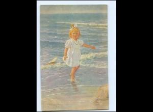 Y10916/ R. Borrmeister Künstler AK Mädchen am Meer ca.1912