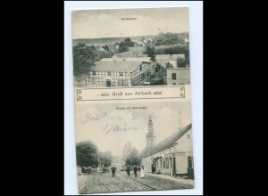 U4706-173./ Ahlbeck Kirche mit Marktplatz AK 1911