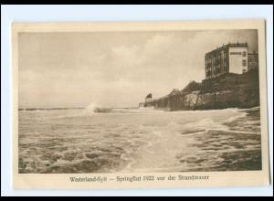 S1814/ Westerland Sylt Springflut vor der Strandmauer Januar 1922 AK