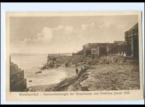 S1813/ Westerland Sylt Sturm Strandmauer Januar 1922 AK