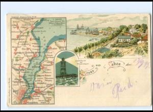 S1799/ Gruß aus Laboe Litho Landkarten AK 1899