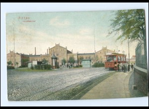 XX004146/ Zittau Hauptbahnhof Straßenbahn 1915 AK