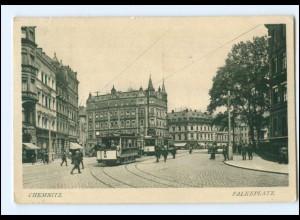 XX004148/ Chemnitz Falkeplatz Straßenbahn 1916 AK