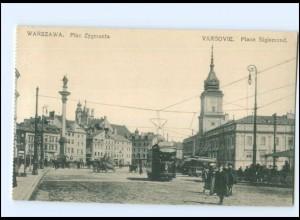 XX004258/ Polen Warszawa Plac Zygmunta Straßenbahn AK