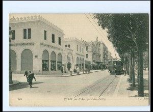 XX004488/ Tunis L`Avenue Jules-Ferry Straßenbahn AK Tunesien ca.1912
