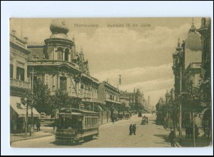 XX004451/ Montevideo Avenida 18 de Julio Straßenbahn Tram Uruguay AK ca.1912
