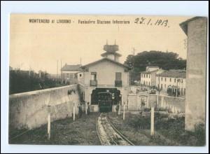 XX004593/ Montenero di Livorno Funicolare Stazione 1913 Bahnhof Italien