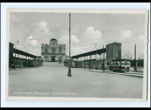 U4783/ Litzmannstadt Lodz Polen Kalischer Bahnhof Straßenbahn AK 1940