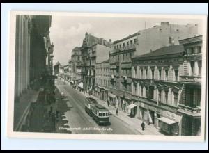 U4784/ Litzmannstadt Lodz Polen Adolf-H-Straße Straßenbahn Foto AK ca.1940