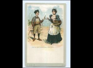 Y11295/ Les Asperges - Spargel-Verkäuferin Litho Künstler AK ca.1900
