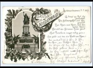 Y11173/ Gruß vom Niederwald National-Denkmal 1897 Litho AK
