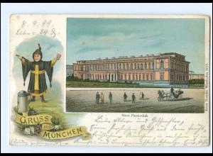 Y11178/ Gruß aus München Neue Pinakothek 1899 Litho AK