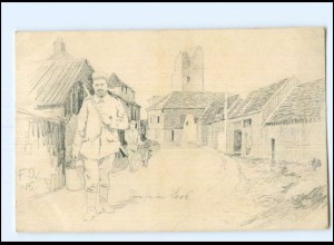 Y11105/ Straße in Loos 1. Weltkrieg Frabkreich 1915 AK