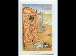 Y11416/ Badeleben Umkleidekabine junge Frau und Hund AK 1928