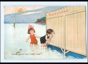 Y11414/ Badeleben Damenbad Kinder Sonne Hunmor AK 1926