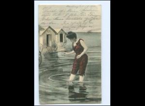Y11413/ Badeleben junge Frau badet Badekarren AK 1901