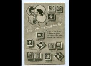 Y11387/ Briefmarken-Sprache Heuss-Marken Foto AK ca.1955