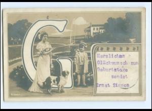 "Y11377/ Buchstaben Foto Ak ""G"" Fotomontage 1911"