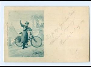 Y11395/ Frau mit Fahrrad AK 1899