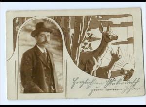 Y11375/ Mann und Rehe Foto Fotomonatge AK 1904