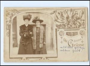 Y11367/ Zwei Frauen mit Pelzstola und Hut Jugendstil Fotomontage AK ca.1912