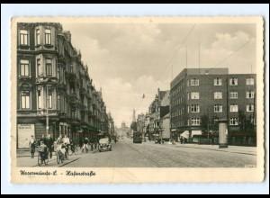 U5088-2850/ Wesermünde Hafenstraße Straßenbahn 1939 Foto AK