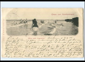 U4901/ Nordseestrand Fotograf Fotoapparat Strandleben Stempel: Borkum 1898