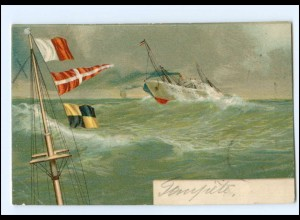 "Y11506/ Marine Dampfer auf See Litho AK 1903 ""Intern. Signalbuch"""