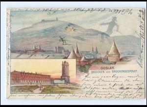 U4899/ Berge mit Gesichter AK Goslar mit Brocken 1898 AK