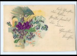 Y11430/ Blüten aus Seide Prägedruck AK 1901