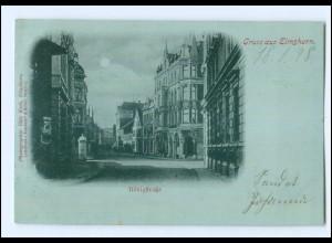 U4889/ Gruß aus Elmshorn Königstraße Mondschein AK 1898